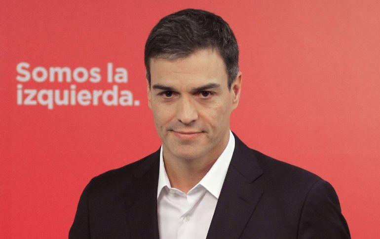 El secretario general del PSOE, Pedro Sánchez, tras una rueda de prensa