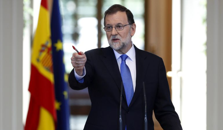 El presidente del Gobierno, Mariano Rajoy, durante su comparecencia en Moncloa para hacer balance del curso político y exponer sus perspectivas ante el siguiente curso.