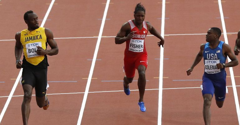 Usain Bolt y Christian Coleman se retan con la mirada de cara a la final