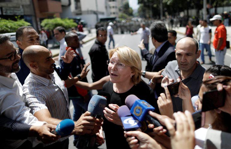 La fiscal general de Venezuela, Luisa Ortega, en una comparecencia antes los medios.