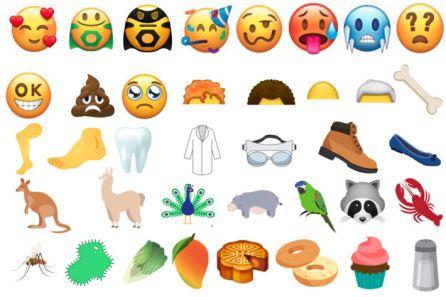 Nuevos emojis incluidos en la versión 11.0 de Unicode que estarán disponibles a partir de 2018.