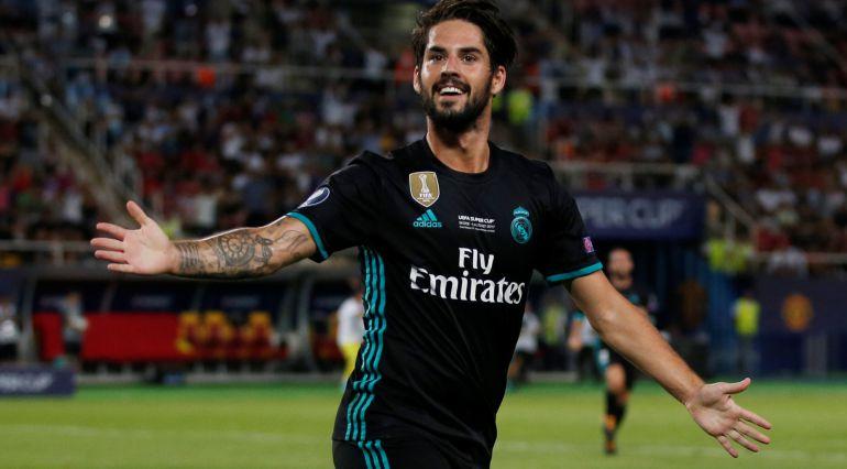 Isco celebra el segundo gol en la Supercopa frente al United