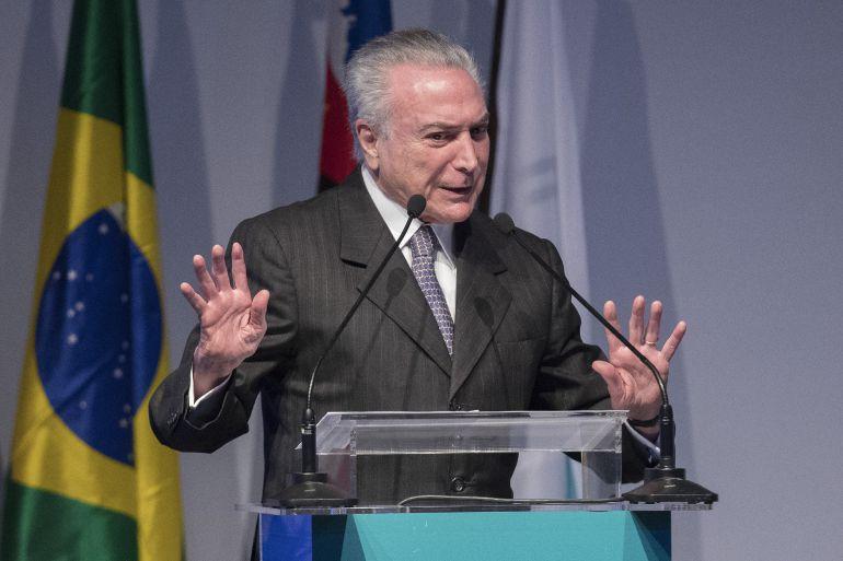 El presidente brasileño, Michel Temer, habla durante la inauguración de la feria nacional del sector automotor hoy, martes 8 de agosto de 2017