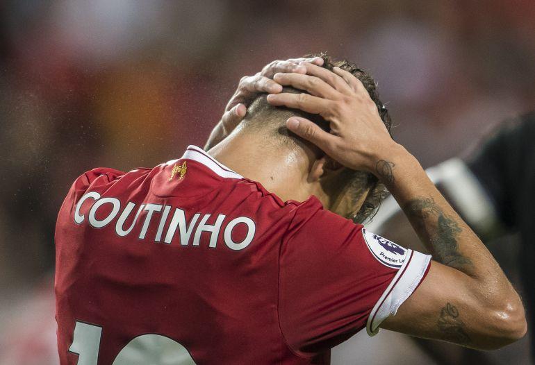 Coutinho, durante un partido con el Liverpool