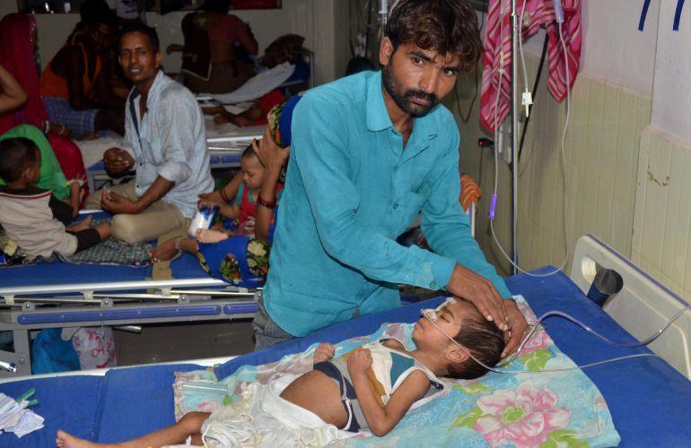 El hospital Baba Raghav Das Hospital in Gorakhpur, en India, donde sesenta niños han perdido la vida.
