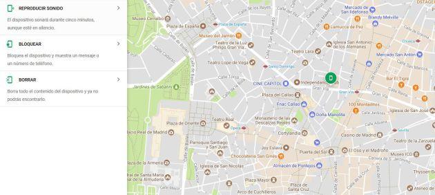 Google te mostrará la ubicación de tu teléfono móvil.