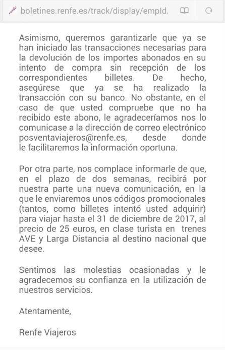Ejemplo del correo que Renfe está enviando a los usuarios afectados.