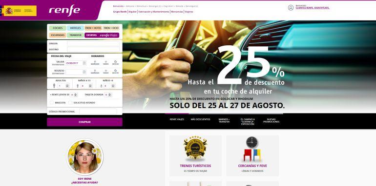 Página web oficial de Renfe.