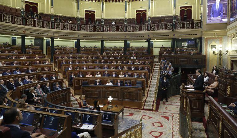 El presidente del Gobierno, Mariano Rajoy, durante su comparecencia en un pleno extraordinario del Congreso de los Diputados.
