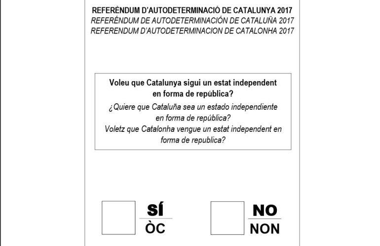 Papeleta para el referéndum de independencia de Cataluña.
