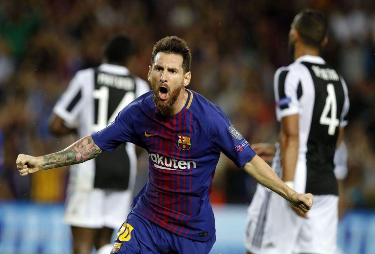 Messi celebra su primer gol ante la Juventus