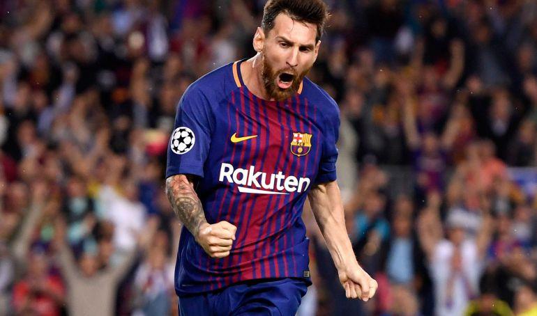 Messi celebra su gol a la Juventus.
