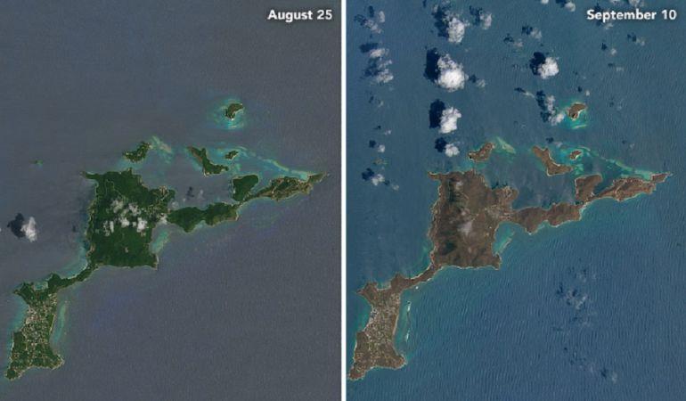 La isla Virgen Gorda el 25 de agosto (izquierda) y el 10 de septiembre (derecha).