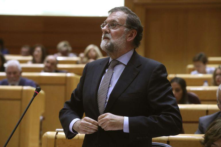 El presidente del Gobierno, Mariano Rajoy, interviene en la sesión de control al Ejecutivo, celebrado en el pleno del Senado