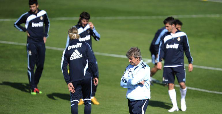 Pellegrini, durante un entrenamiento con el Real Madrid