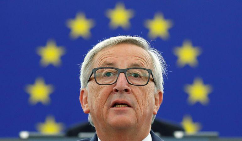 El Presidente de la Comisión Europea, Jean-Claude Juncker en el Parlamento Europeo en Estrasburgo, Francia.