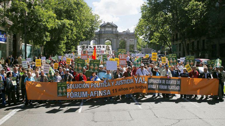Manifestación de víctimas de la estafa el pasado mes de mayo en Madrid.