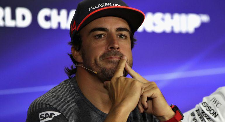 Fernando Alonso, en la rueda de prensa de los pilotos del GP de Singapur.