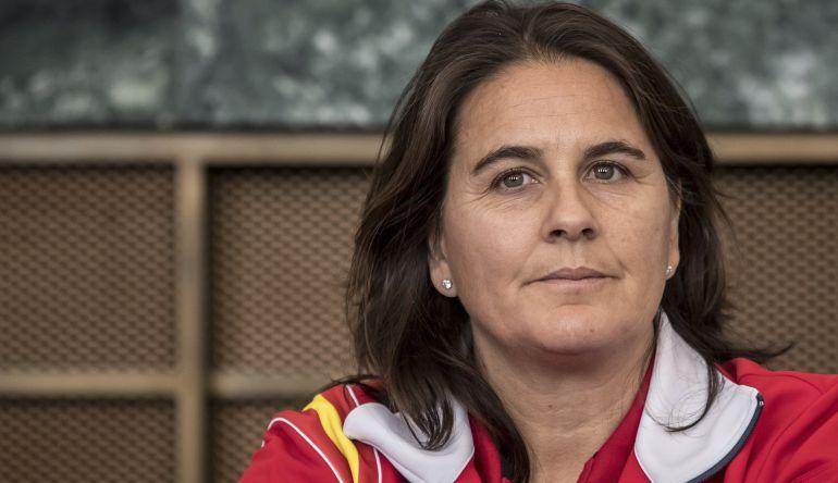 Conchita Martínez, durante un encuentro de la Copa Davis de tenis