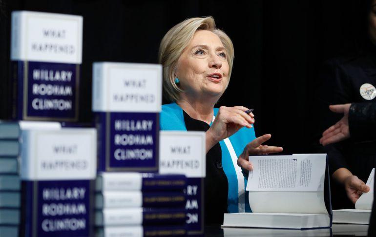 La excandidata demócrata a la Casa Blanca, Hillary Clinton, en la presentación de su libro
