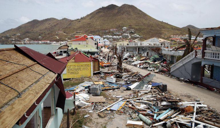 Vista aérea de los daños provocados por el paso del huracán Irma en la isla caribeña de San Martín.