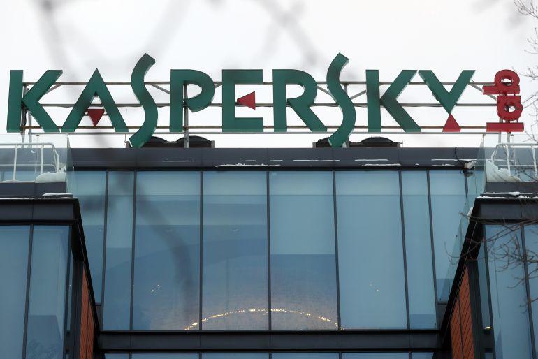 El logo de Kaspersky Lab en su sede.