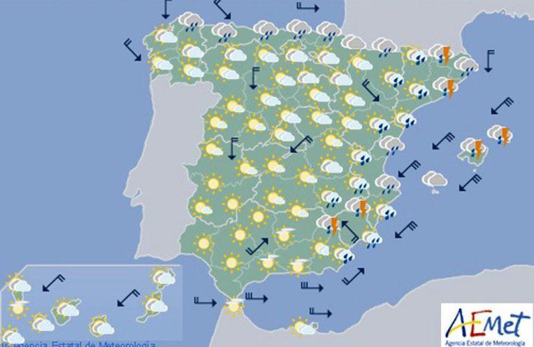 Mapa significativo elaborado por la Agencia Estatal de Meteorología (AEMET)