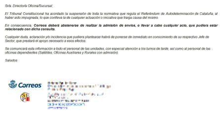 El personal de Correos no admitirá envíos sobre la consulta del 1-O en Cataluña