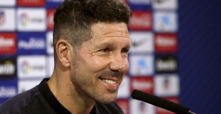 Diego Pablo Simeone, durante la rueda de prensa previa al partido