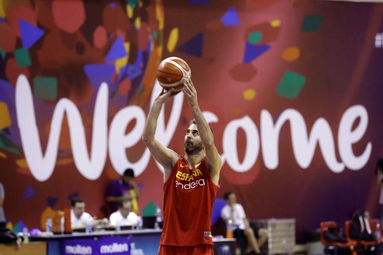 El escolta de la selección española de baloncesto Juan Carlos Navarro durante el entrenamiento realizado previo a Turquía.