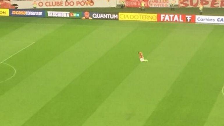 Alemao camina de rodillas sobre el césped del estadio Beira-Rio