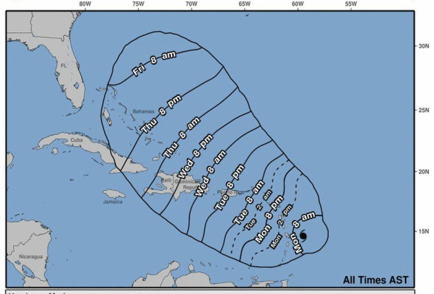 Representación artística que muestra la posible trayectoria del huracán María en el Océano Atlántico