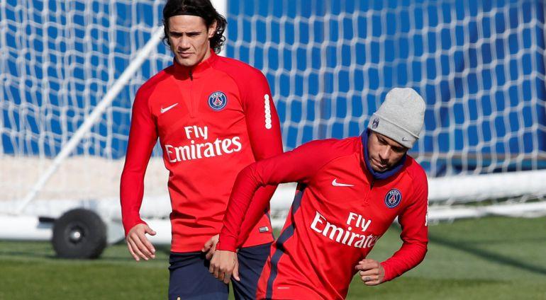 Neymar y Cavani, durante un entrenamiento con el PSG