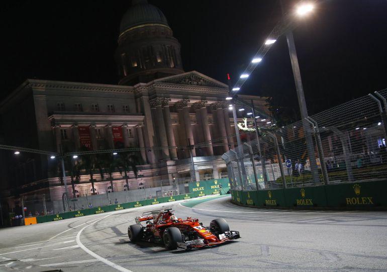 Sebastian Vettel durante el GP de Singapur.