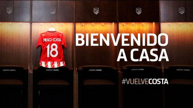 Imagen que ha utilizado el Atlético de Madrid para anunciar el dorsal de Diego Costa