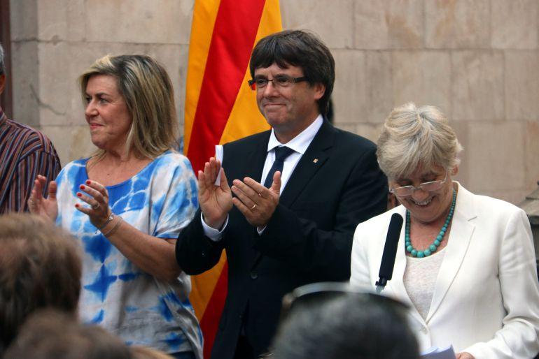 Carles Puigdemont en el Palacio de la Generalitat.