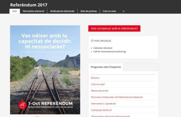 Vista principal de la página web del referéndum ilegal.