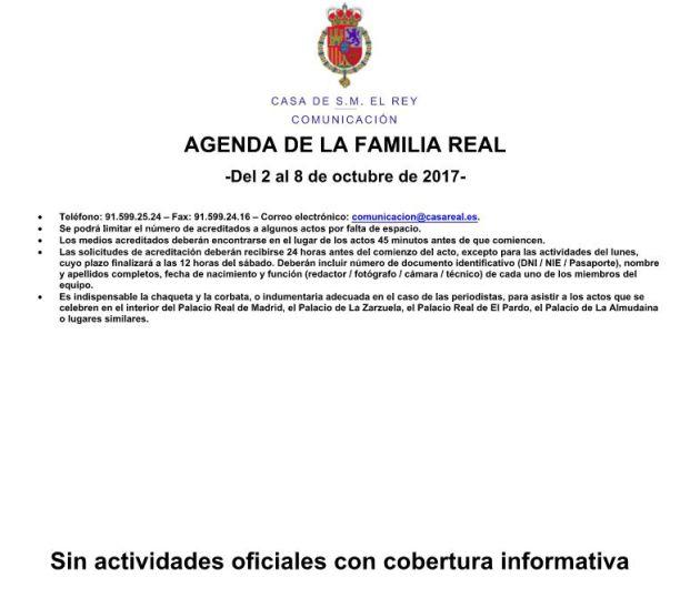 La agenda de la Familia Real