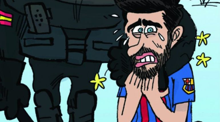 La dura viñeta de L'Èquipe sobre Piqué y Cataluña