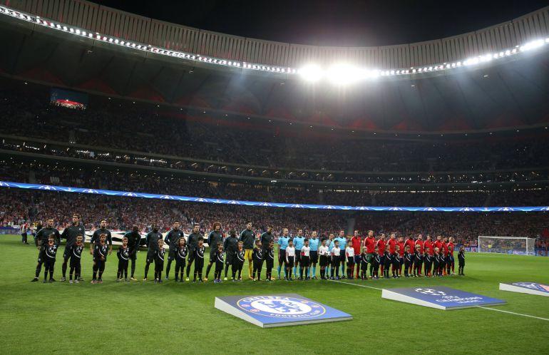 Imagen del Wanda Metropolitano en el estreno del nuevo estadio en la Liga de Campeones en el partido del Atlético de Madrid frente al Chelsea.