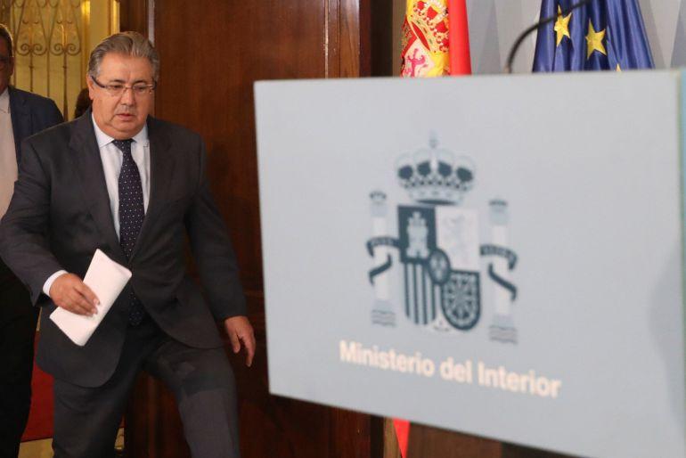 El ministro del Interior, Juan Ignacio Zoido, durante una comparecencia