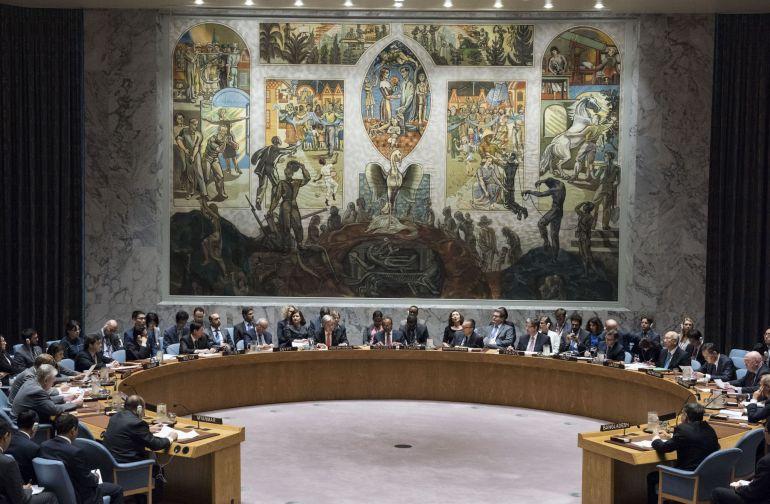 Vista del pleno del Consejo de Seguridad de la ONU durante una reunión sobre la situación en Birmania
