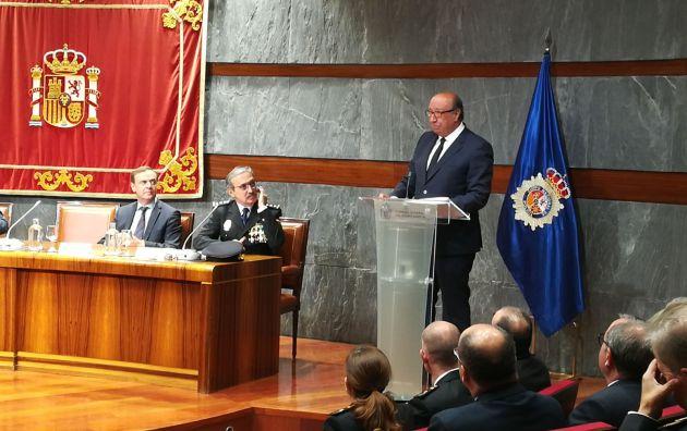 El director general de la Policía durante su discurso