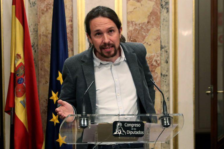 El líder de Podemos, Pablo Iglesias, durante su comparecencia esta tarde en el Congreso de los Diputados