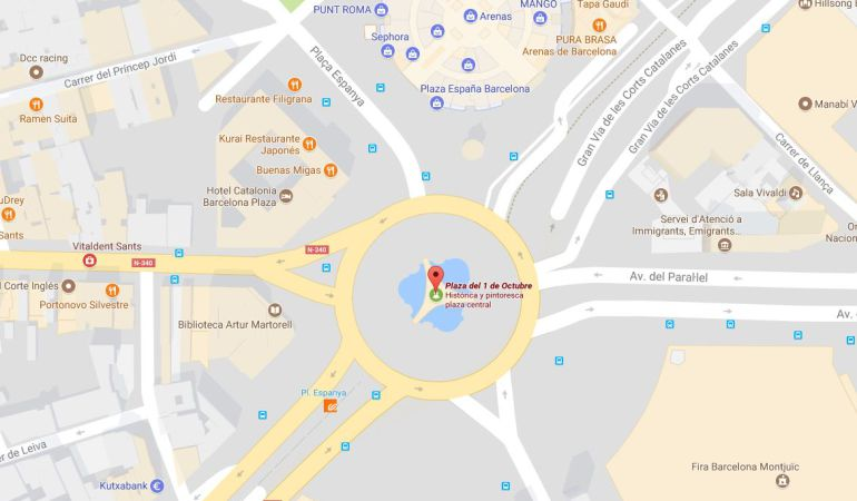 La Plaza del 1 de Octubre en Google Maps.