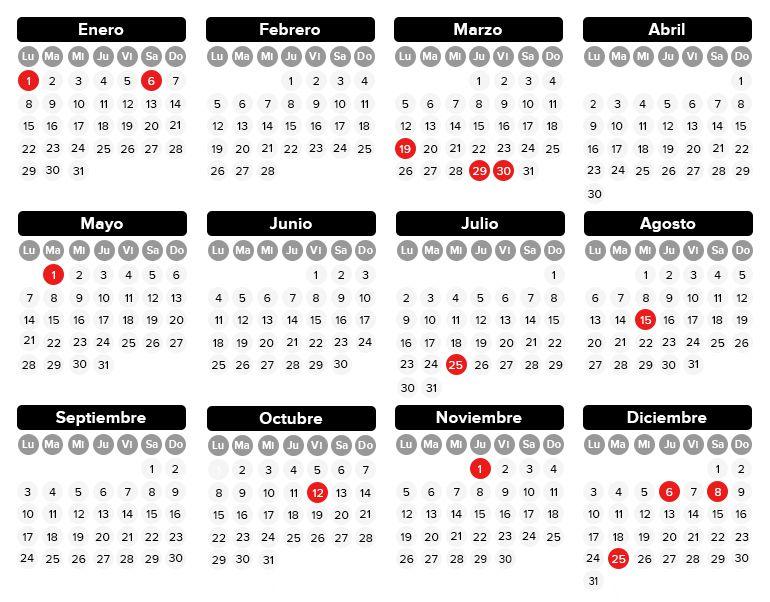 Así será el calendario laboral de 2018
