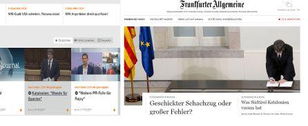 las portadas digitales del frankfurter Allgemeine y de la television zdf de Alemania sobre Cataluña