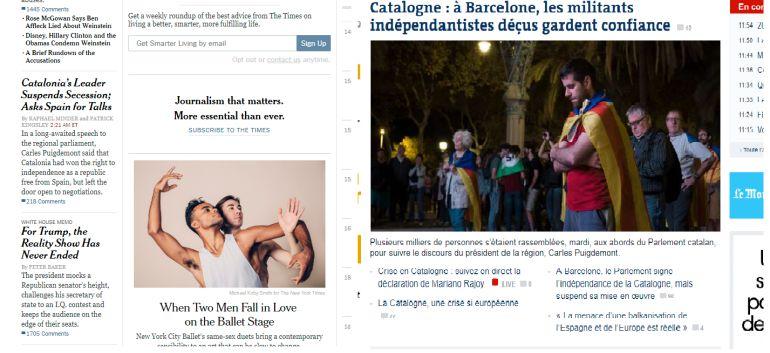 portadas del New York Times y de Le Figaro sobre el conflicto catalán