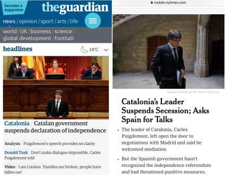 Cobertura del 10-O en las portadas de las ediciones digitales del diario británico 'The Guardian' y el estadounidense 'The New York Times' (derecha)