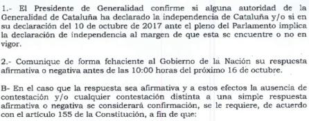 DOCUMENTO | Plazos del requerimiento del Gobierno a la Generalitat